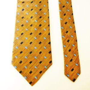 "Ermenegildo Zegna 60"" Long Geometric Gold Blue Tie"